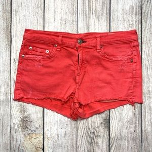 Rag & Bone Mila Red Denim Frayed Shorts Women's 28